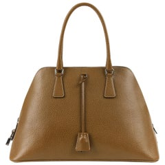 PRADA Olive Brown Leather Structured Top Handle Trapezoid Satchel Purse