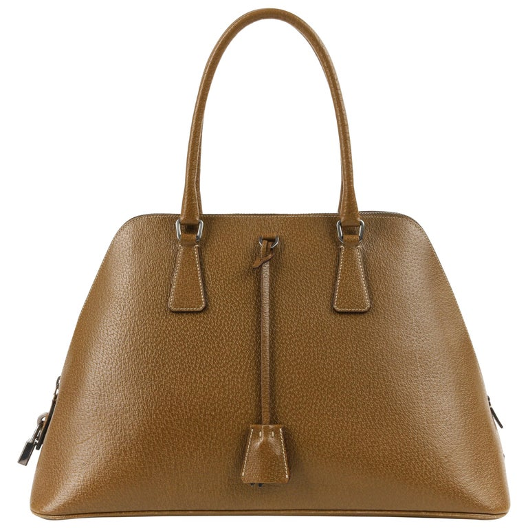 9b92c8caf726 PRADA Olive Brown Leather Structured Top Handle Trapezoid Satchel Purse For  Sale