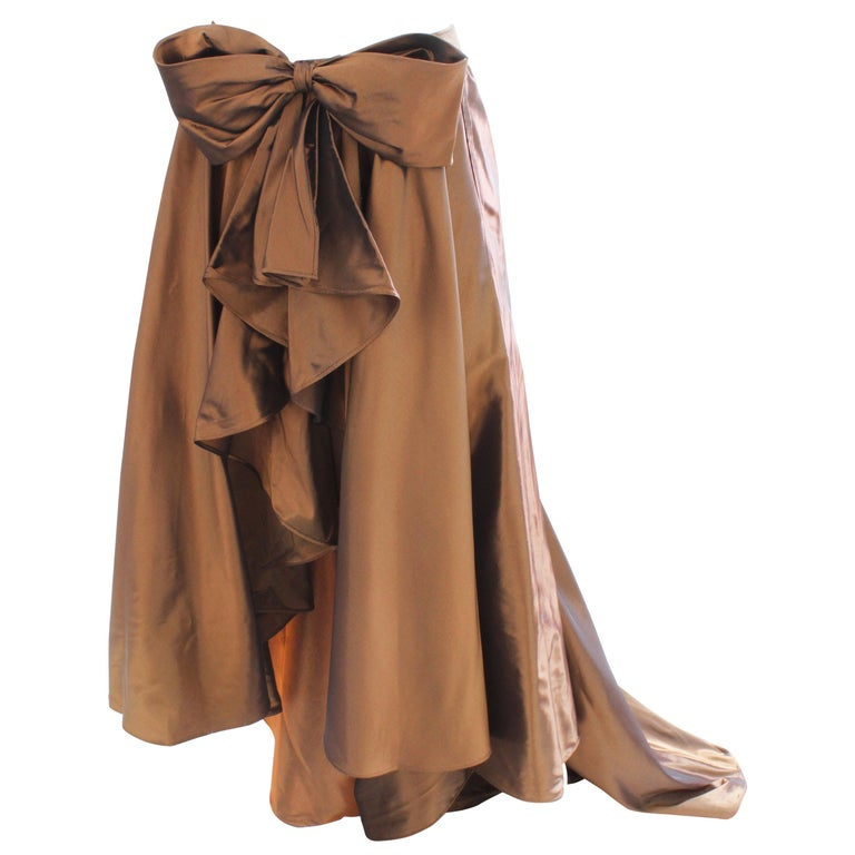 Vicky Tiel Attributed Formal Wrap Skirt with Large Bow and Ruffle Detail  For Sale