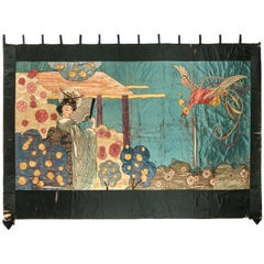 Vintage Silk Geisha & Phoenix Bird Hand Embroidered Large Wall Hanging Tapestry