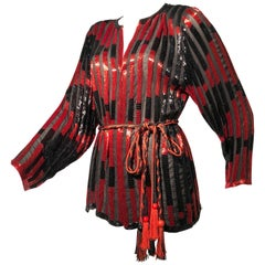 Red and Black Bugle Bead Striped Silk Chiffon Tunic Top with Tassel Tie Belt