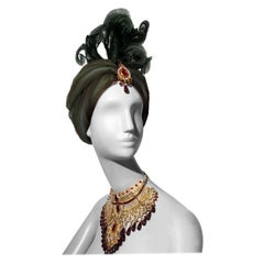 Tulle Turban With Curled Feathers and Authentic Indian Bib Necklace, 1960s