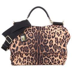 Dolce & Gabbana Soft Miss Sicily Handbag Leopard Print Canvas Large