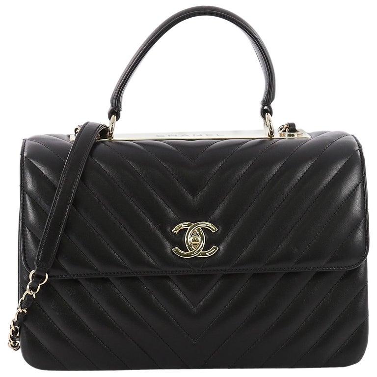Chanel Trendy Cc Top Handle Bag Chevron Lambskin Medium At