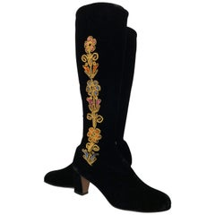 Black Velvet Knee-High Boots With Romantic Floral Cord Embroidery, 1960s