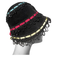 Yves Saint Laurent Black Felt Bucket Hat With Color Ribbons and Bead Trim, 1960s