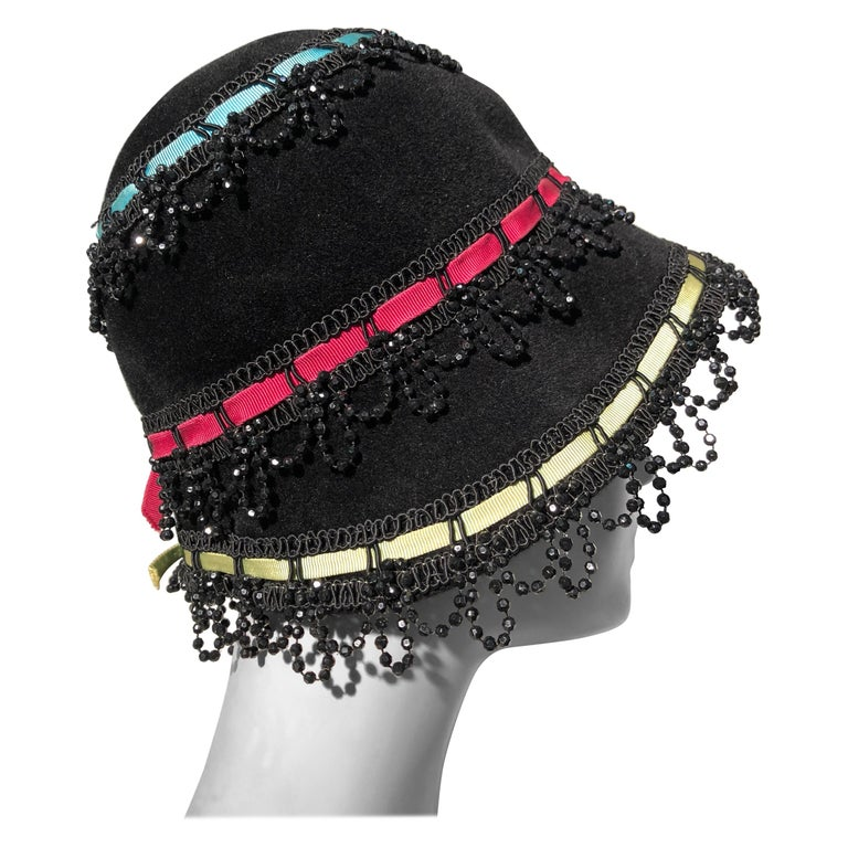 1a0f005b5cc Yves Saint Laurent Black Felt Bucket Hat With Color Ribbons and Bead Trim