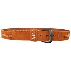 MAISON MARTIN MARGIELA Size 36 Brick Contrast Stitched Belt