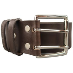 UMIT BENAN Size 34 Dark Brown Leather Silver Double Prong Buckle Belt