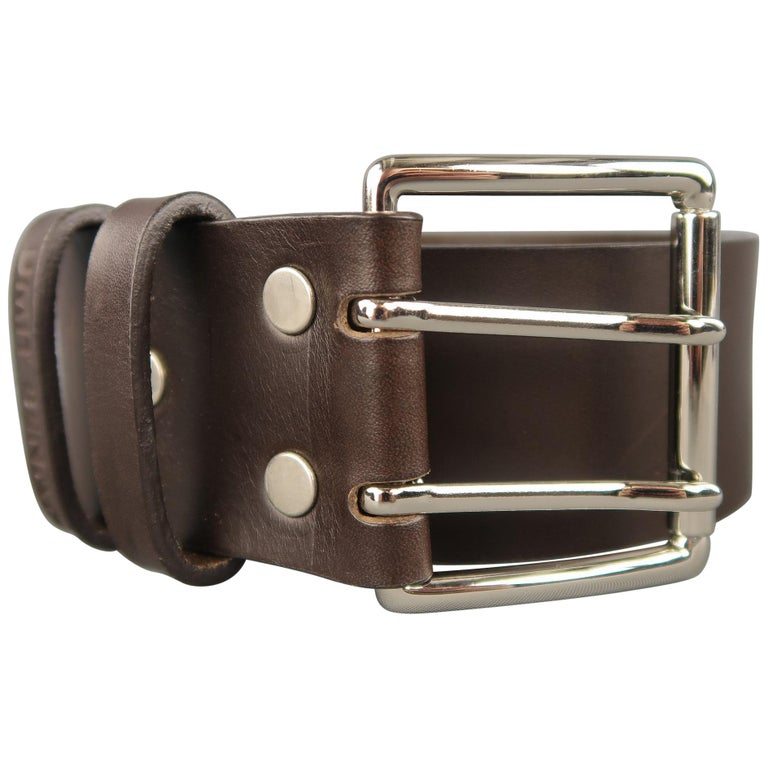 UMIT BENAN Belt - Size 34 Dark Brown Leather Silver Double Prong Buckle For Sale