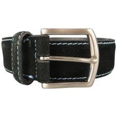 ALBERTO ZIMNI Size 34 Black Contrast Stitch Suede Belt
