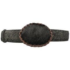 ETRO Size 34 Black Paisley Embossed Ponyhair Whipstitch Buckle Belt