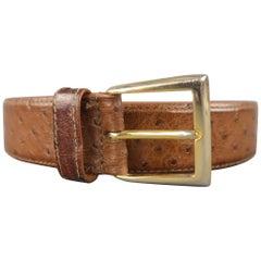 LONGHI Size 38 Brown Ostrich Textured Dress Belt