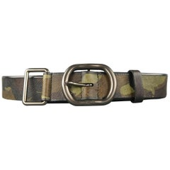 PRADA Size 34 Olive Camouflage Saffiano Leather Belt