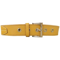 PRADA Size 32 Mustard Textured Leather Grommet Belt