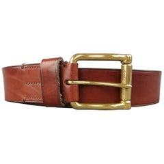 RALPH LAUREN Size 38 Brown Leather Gold Vintage Look Belt