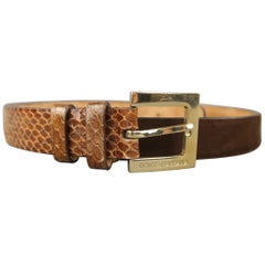 DOLCE & GABBANA Size 36 Brown Suede & Snakeskin Leather Belt