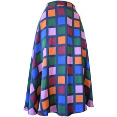 Vintage Colorful Checkered Harlequin Silk Skirt, Circa 1980s