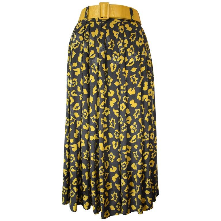 Vintage Early Karl Lagerfeld Silk Skirt in a Yellow Flower Print