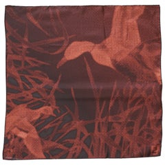 Fendi Silk Scarf Nature Scene in the Pointillist Style