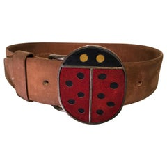 1960s Vera Ladybug Suede Belt Buckle W/ Brown Leather Belt
