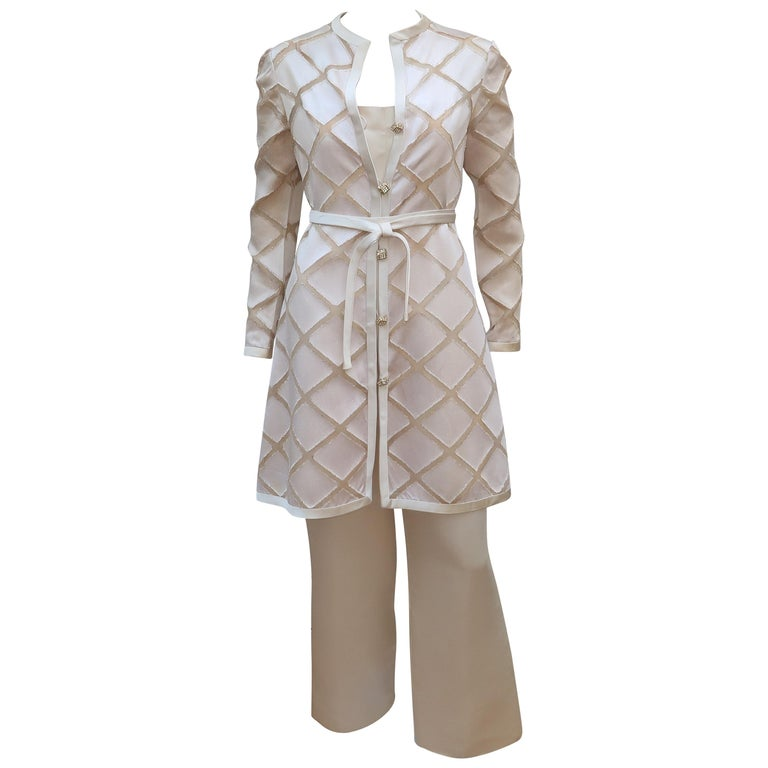 Elinor Simmons for Malcolm Starr Satin Jumpsuit With Jacket, circa 1970 For Sale