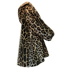 Escada Faux Leopard Fur Swing Coat With Hood and Gold Quilted Lining, 1980s