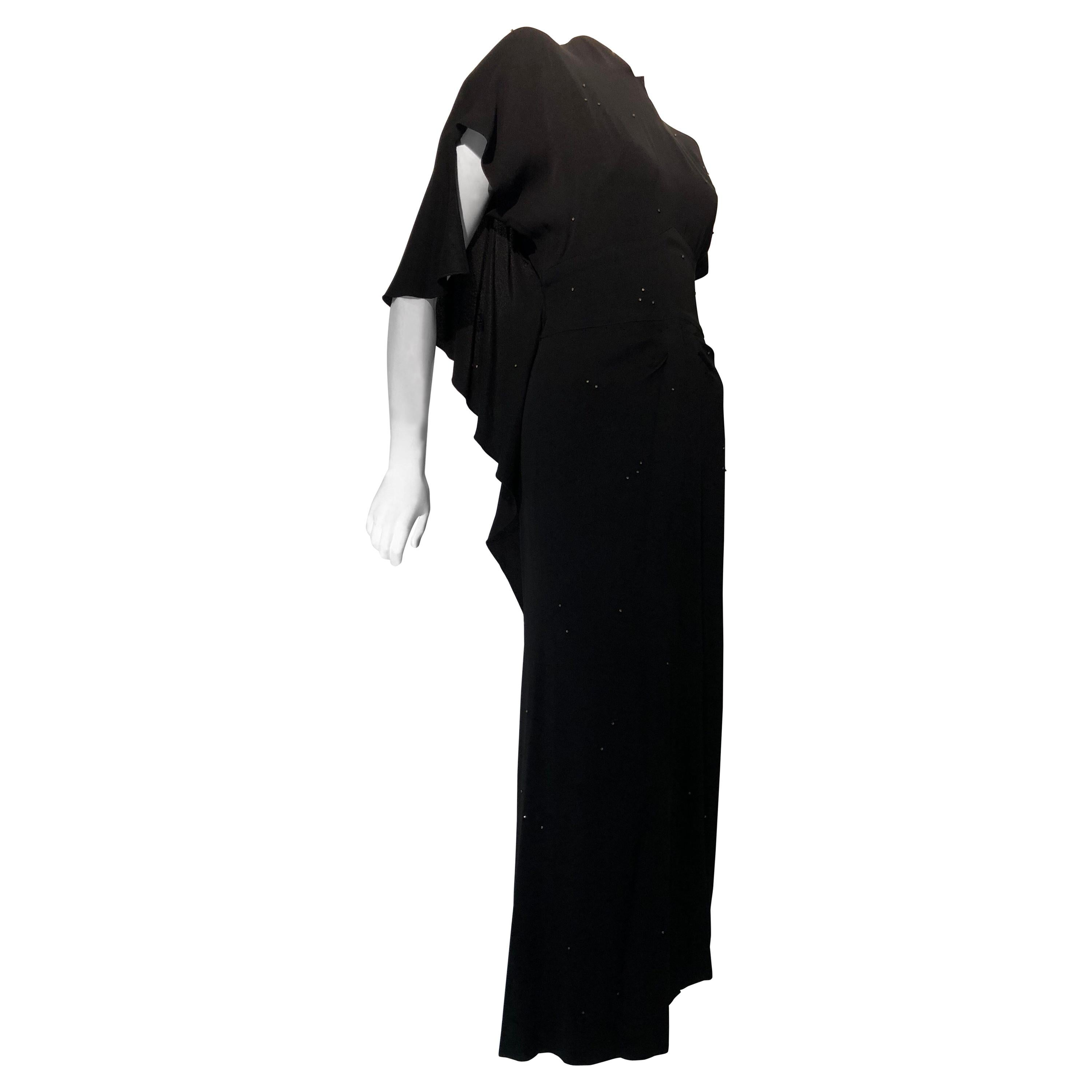 Gilbert Adrian Black Crepe Gown With Shoulder Drape / Back and Front Slit, 1940