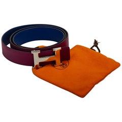 Hermès Ruby and Blue Reversible H Belt