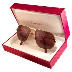 Cartier Tank 62mm Large Vendome Gold Frame Sunglasses, 1988