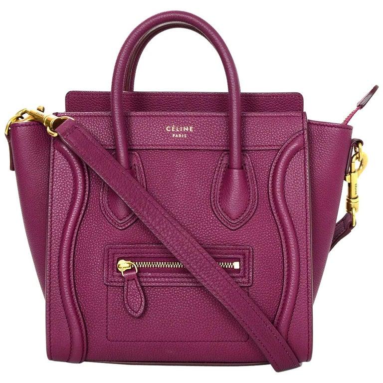 Celine Raspberry Drummed Leather Calfskin Nano Luggage Tote Crossbody Bag