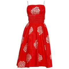 1950's Lorrie Deb Metallic Roses Print Red Taffeta Shelf-Bust Full Party Dress