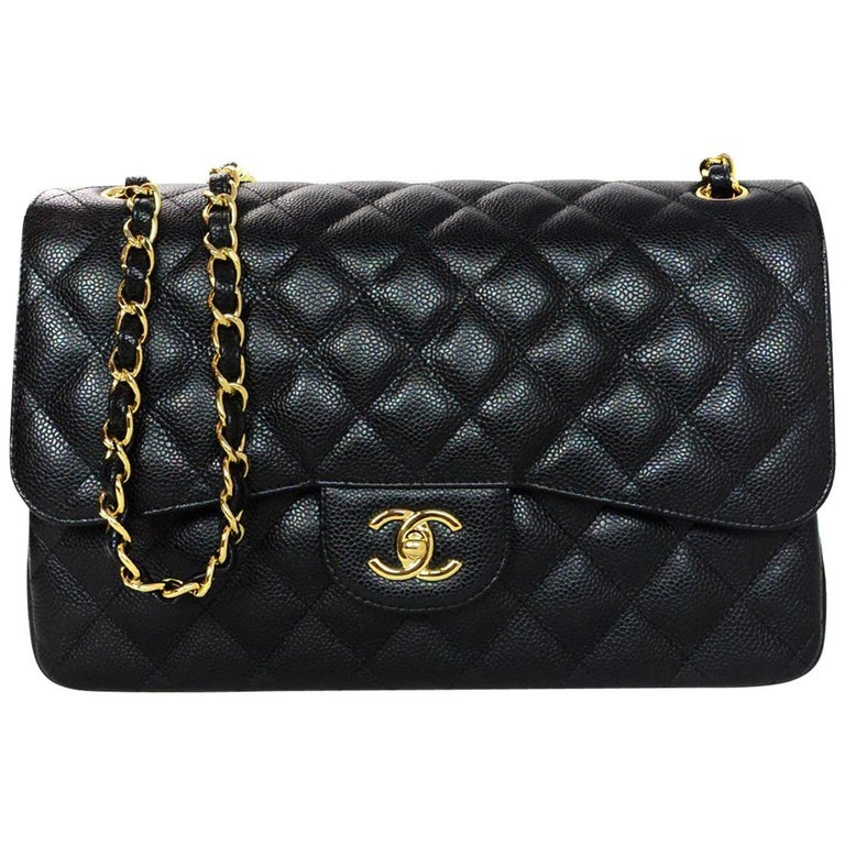 362f79efc65 Chanel Black Caviar Leather Quilted Jumbo Double Flap Classic Bag rt.  $6,200 For Sale