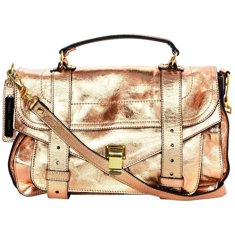 Proenza Schoulder Copper Metallic Lambskin Medium PS1 Satchel Bag For Sale