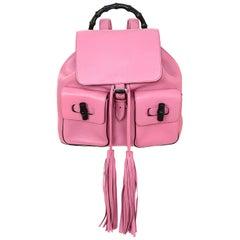 Gucci Glossy Pink Medium Bamboo Backpack Bag rt. $2,590