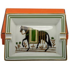 Hermès Green and Gold Horse Ashtray