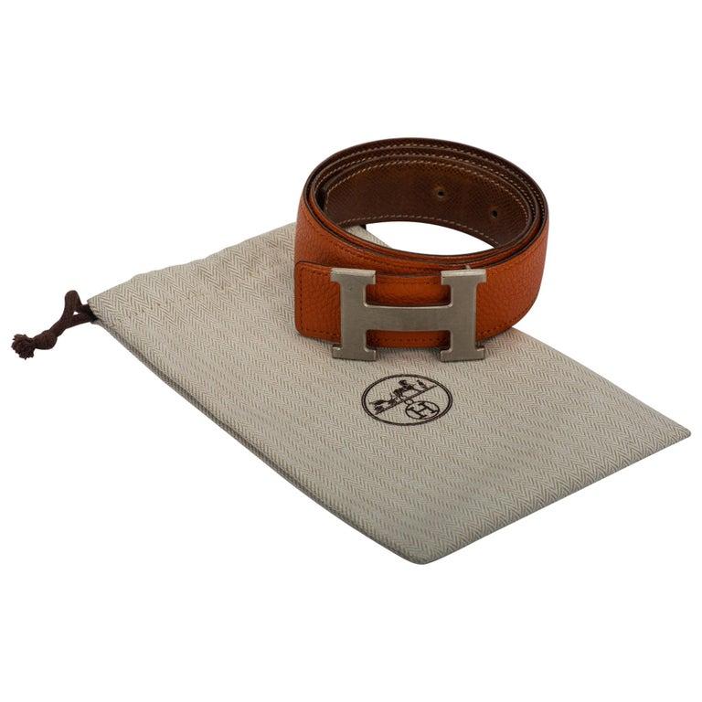 Hermès Reversible Orange Gold 70 Cm H Belt