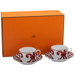 Hermès Set of 2 Red White Breakfast Cups