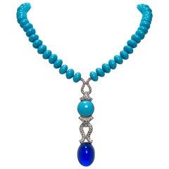 Faux Turquoise Sapphire Diamond Pendant Necklace