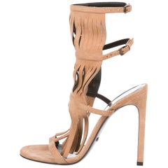 Gucci Tan Nude Suede Cut Out Evening Sandals Heels