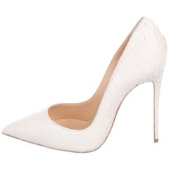 Christian Louboutin Winter White Snakeskin So Kate Evening Heels Pumps