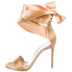 Gianvito Rossi Gold Satin WrapAround Bow Evening Sandals Heels