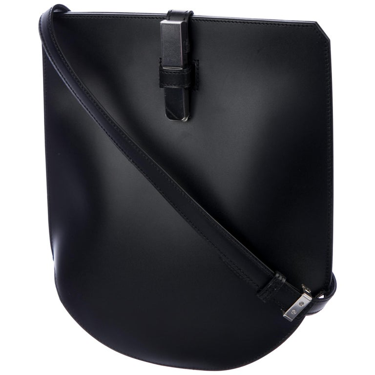 Hermes Dark Blue Midnight Silver Tone 2 in 1 Clutch Shoulder Bag
