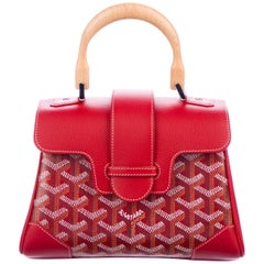 Goyard Red Monogram Logo Leather Kelly Style Top Handle Satchel Bag
