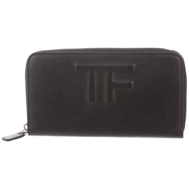 Tom Ford Black Leather Logo Zip Around Clutch Wallet