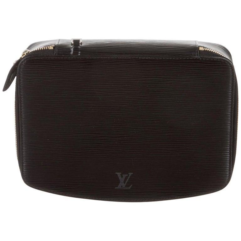 fa8265d615c5b Louis Vuitton Schwarzes Leder Herren Schmuck Zubehör Reisetasche im ...