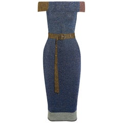 Christopher Kane Off-The-Shoulder Metallic Ribbed-Knit Midi Dress