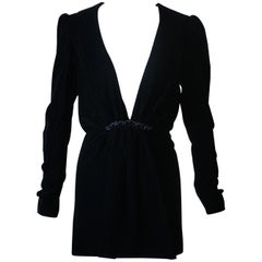 Saint Laurent Plunging V-Neck Velvet Mini Dress