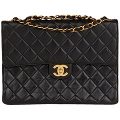 1997 Chanel Black Quilted Lambskin Vintage Jumbo Single Flap Bag