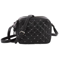 Valentino Rockstud Spike Camera Bag Quilted Leather Mini